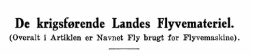 De krigsførende Landes Flyvemateriel