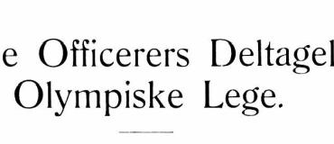 Danske Officerers Deltagelse i Olympiske Lege