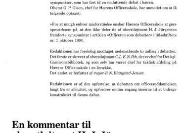 En kommentar til oberstløjtnant H.J. Jürgensens artikel om »Officeren som debattør«