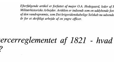 Eksercerreglementet af 1821 - hvad er det?